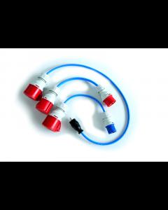 3-teiliges Adapterset 22 kW HOME+ auf CEE rot 16 A, CEE blau 32 A, Schutzkontaktstecker